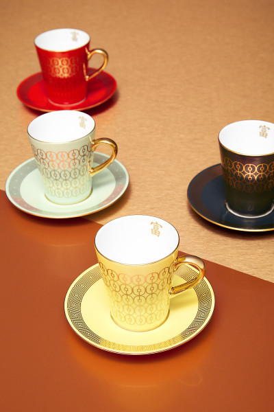 Coin Lattice Espresso Cup and Saucer in Red, Dark Green, Caladon, and Yellow