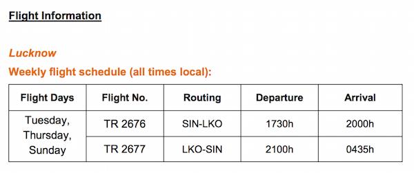 Tigerair Lucknow Flight Schedule
